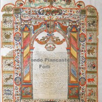 Contratto matrimoniale (ketubà), Lugo, 1740 (Biblioteca comunale A. Saffi di Forlì, Collezione Piancastelli, Sezione stampe e disegni, cassetto 7)