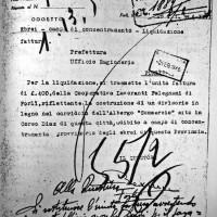 Fattura per la costruzione di un divisorio nell'Albergo Commercio, campo di concentramento provinciale, 28.01.1944 (ASFo)