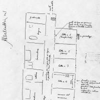 Piantina del carcere di Viale Salinatore disegnata dalla magistratura nel 1945 su indicazioni dell'avvocato Oreste Casaglia, detenuto nella cella n. 1 nell'agosto 1944