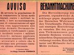 Manifesto tedesco di minaccia nei confronti dei partigiani.