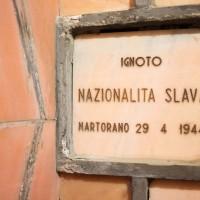 Lapide nella cripta del cimitero monumentale di Cesena oggi