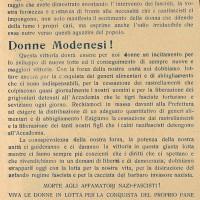 Volantino dei GDD che elogia le donne per il prelevamento di Paganine e le invita a compiere nuove azioni di lotta