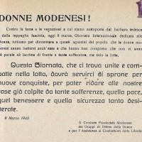 Volantino dei GDD che incita le modenesi alla lotta nella Giornata internazionale dedicata alle donne
