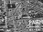 Ripresa aerea del centro di Parma durante l'incursione di bombardieri alleati, 13 maggio 1944