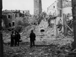 Montescudo dopo un bombardamento.