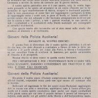 L' organizzazione della Resistenza esorta i giovani che sono entrati nella Polizia ausiliaria della Repubblica Sociale Italiana a disertare: solo unendosi ai partigiani potranno togliersi la macchia di aver collaborato con il fascismo di Salò.