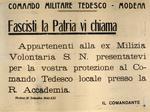 Manifesto del comando tedesco alla popolazione modenese.