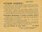 Volantino che esalta la manifestazione di donne davanti al salumificio Frigeri di Paganine, l'8 marzo 1945.
