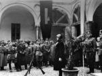 Il comandante della Militärkommandantur 1008 tiene un discorso agli ufficiali dell'esercito della RSI, Parma autunno 1943