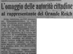 Trafiletto su La Scure dell'1 febbraio 1944 che documenta i buoni rapporti con l'occupante tedesco