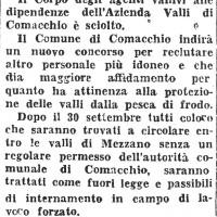 30 settembre 1944. Bando della Prefettura Repubblicana di Ferrara, sulla regolamentazione della circolazione in barca nelle valli di Mezzano a seguito dello scioglimento del Corpo degli agenti vallivi