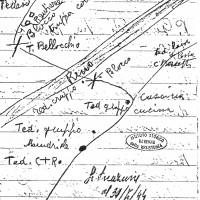 Mappa partigiana disegnata a mano, 30/7/1944
