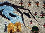 Un mosaico per la pace realizzato dai bambini delle scuole elementari di Ponte Nuovo nel 2002. Particolare