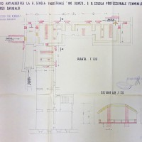 Planimetria del rifugio nei sotterranei della scuola, 1944 (AS-FC Fo, C.P.P.A.A. Comitato Provinciale di Protezione Antiaerea, busta n. 28)