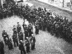 Reparto della Brigata Nera di Parma schierato nel cortile della caserma