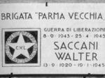 Lapide posta in via Rismondo in ricordo  di Walter Saccani, caduto il 25 aprile 1945