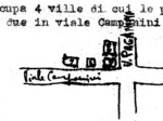 Mappa degli edifici occupati dall'Aussenkommando della Polizia di sicurezza-SD all'angolo tra Viale Campanini e Via Paganini, disegnata da un informatore del servizio informazioni partigiano nell'aprile 1945